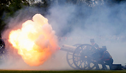 © Licensed to London News Pictures. 04/05/2015. LONDON, UK. Birth of Duke and Duchess of Cambridge's second child marked with the 41 gun salute by soldiers from The King's Troop Royal Horse Artillery in Hyde Park, London on Monday 4 January 2015. Photo credit : Tolga Akmen/LNP