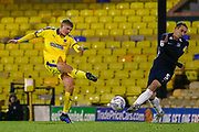 AFC Wimbledon defender Jack Madelin (31) shoots and scores, goal ruled off-side, during the EFL Trophy match between Southend United and AFC Wimbledon at Roots Hall, Southend, England on 13 November 2019.