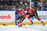 PENTICTON, CANADA - SEPTEMBER 17: Andrew Mangiapane #88 of Calgary Flames skates with the puck against the Edmonton Oilers on September 17, 2016 at the South Okanagan Event Centre in Penticton, British Columbia, Canada.  (Photo by Marissa Baecker/Shoot the Breeze)  *** Local Caption *** Andrew Mangiapane;