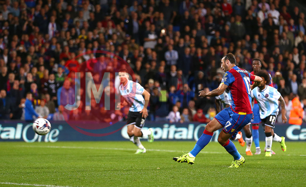 Glenn Murray of Crystal Palace scores from the penalty spot to make it 2-1 - Mandatory byline: Paul Terry/JMP - 07966386802 - 25/08/2015 - FOOTBALL - Selhurst Park -London,England - Crystal Palace v Shrewsbury town - Capital One Cup - Second Round