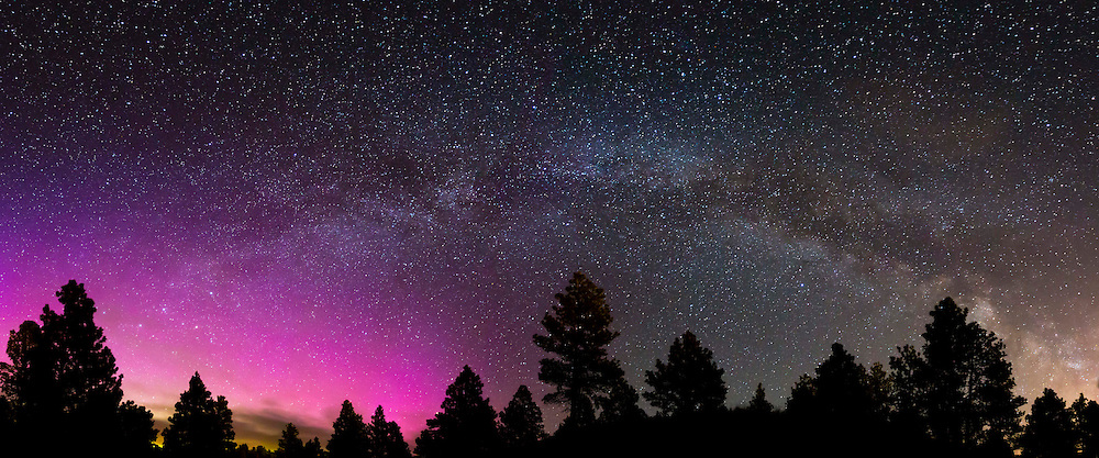 A portion of the Milky Way meets the Northern Lights, just outside of Helena, Montana.