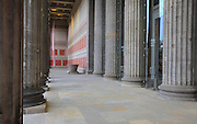 Colonnade and entrance to the Altes Museum or Old Museum, housing the Antique collection of the Berlin State Museums, Museum Island, Mitte, Berlin, Germany. The museum was built 1823-30 by Karl Friedrich Schinkel in neoclassical style to house the Prussian royal family's art collection. The buildings on Museum Island were listed as a UNESCO World Heritage Site in 1999. Picture by Manuel Cohen