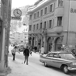 The main street in St.Moritz, Switzerland in February 1960.