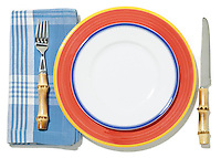 picnic place setting in orange and blue