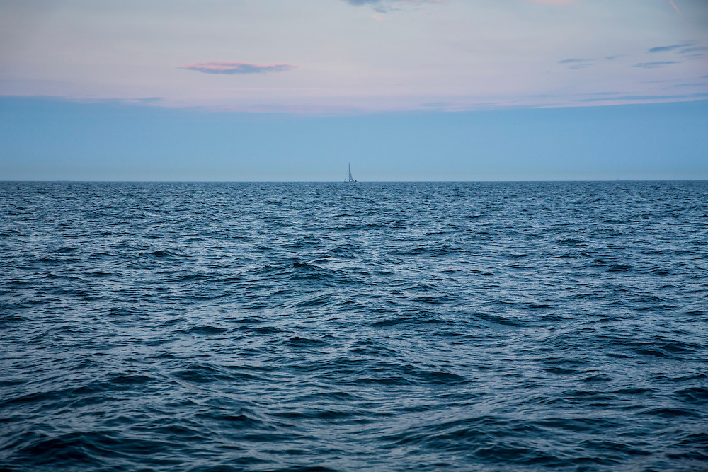 A sailboat on the horizon in the Dover Strait of the English Channel, Dover, Kent, England, United Kingdom.  (photo by Andrew Aitchison / In pictures via Getty Images)