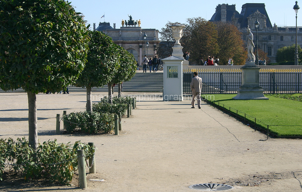 Tuileries gardens, Louvre buildings in background, Paris, France<br />