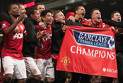 MANCHESTER UNITED WIN THEIR 20TH LEAGUE TITLE.MANCHESTER UNITED (UK USE ONLY).MANCHESTER UNITED V ASTON VILLA (UK USE ONLY).MANCHESTER, , ENGLAND.22 April 2013.GAQ67740..  .WARNING! This Photograph May Only Be Used For Newspaper And/Or Magazine Editorial Purposes..May Not Be Used For Publications Involving 1 player, 1 Club Or 1 Competition .Without Written Authorisation From Football DataCo Ltd..For Any Queries, Please Contact Football DataCo Ltd on +44 (0) 207 864 9121