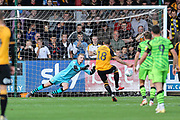 Cambridge United's Marc Richards(18) takes a penalty and saved by Forest Green Rovers goalkeeper Lewis Thomas(24) during the EFL Sky Bet League 2 match between Cambridge United and Forest Green Rovers at the Cambs Glass Stadium, Cambridge, England on 7 September 2019.