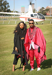 07062018 (Durban) David Tlale and Dj Zinhle arriving in style the adrenaline of Vodacom Durban July flowing like water among the massive crowd expected at Greyville Racecourse in Durban for the running of the R4.25 million, Grade 1, Vodacom Durban July, the greatest racing, fashion and entertainment extravaganza on the African continent.<br /> Picture: Motshwari Mofokeng/African News Agency/ANA