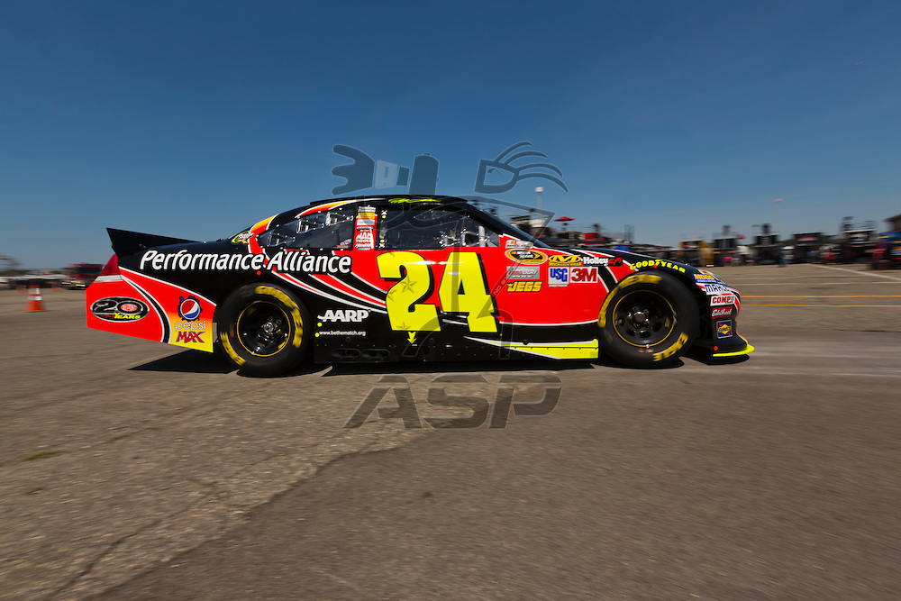 BROOKLYN, MI - JUN 15, 2012:  Jeff Gordon (24) brings his car back into the garage area during a practice for the Quicken Loans 400 at the Michigan International Speedway in Brooklyn, MI.