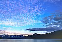 Altocumulus clouds, mackerel sky at sunset over the Kenai Peninsula, Alaska.