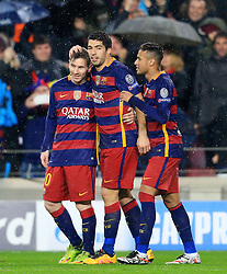 Lionel Messi, Luis Suarez and Neymar celebrate - Mandatory byline: Matt McNulty/JMP - 16/03/2016 - FOOTBALL - Nou Camp - Barcelona,  - FC Barcelona v Arsenal - Champions League - Round of 16