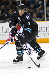March 4, 2010; San Jose, CA, USA; San Jose Sharks defenseman Niclas Wallin (7) during the first period against the Montreal Canadiens at HP Pavilion. San Jose defeated Montreal 3-2. Mandatory Credit: Jason O. Watson / US PRESSWIRE