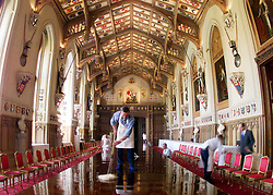 Preparations for the State Banquet in St Georges Hall, Windsor Castle. .Photo by Ian Jones...