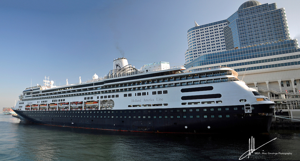 Holland America Line's Zaandam docked beside the Canada Centre in Vancouver, British Columbia, Canada