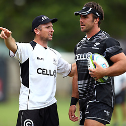 DURBAN, SOUTH AFRICA, Thursday 14, January 2016 - Johan Pretorius Head Strength & Conditioning Coach with Francois Klenhans during The Cell C Sharks Pre Season training Thursday 14th January 2016,for the 2016 Super Rugby Season at Growthpoint Kings Park in Durban, South Africa. (Photo by Steve Haag)<br /> images for social media must have consent from Steve Haag