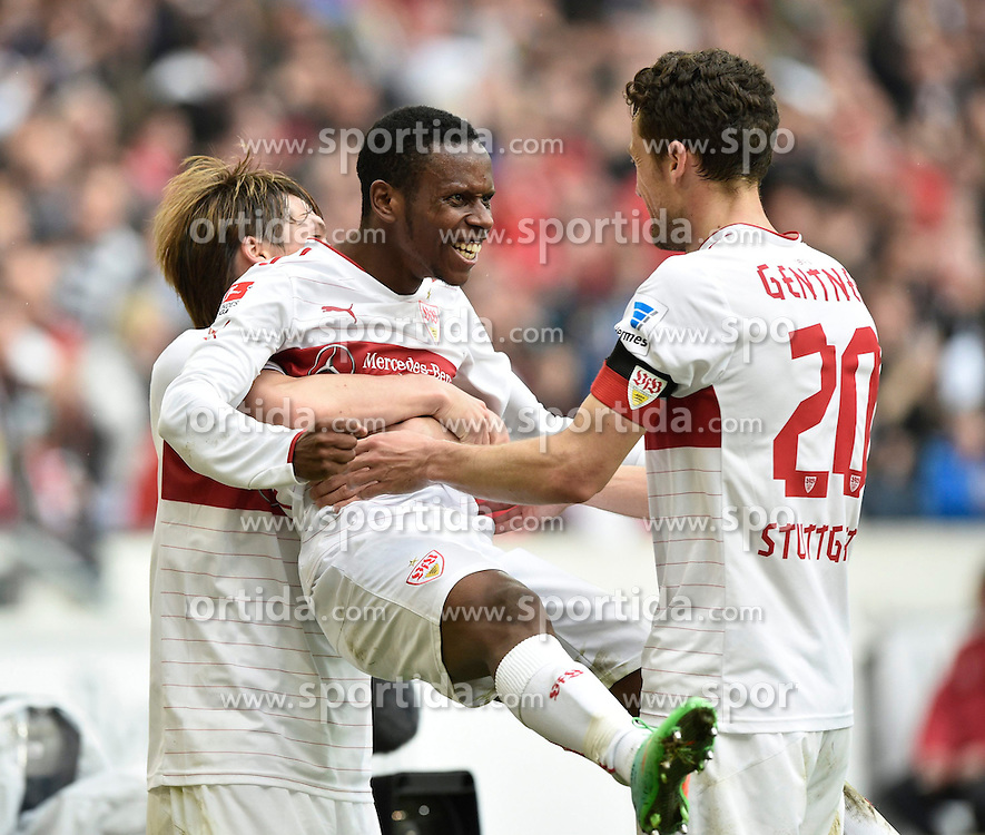 05.04.2014, Mercedes Benz Arena, Stuttgart, GER, 1. FBL, VfB Stuttgart vs SC Freiburg, 29. Runde, im Bild 1: 0 fuer den VfB durch Alexandru Maxim VfB Stuttgart auf Vorlage von Ibrahima Traore VfB Stuttgart Torjubel;Jubel;Freude;Emotion v.li.: Gotoku Sakai VfB Stuttgart Ibrahima Traore VfB Stuttgart Christian Gentner VfB Stuttgart // during the German Bundesliga 29th round match between VfB Stuttgart and SC Freiburg at the Mercedes Benz Arena in Stuttgart, Germany on 2014/04/05. EXPA Pictures &copy; 2014, PhotoCredit: EXPA/ Eibner-Pressefoto/ Weber<br /> <br /> *****ATTENTION - OUT of GER*****