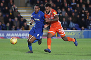 AFC Wimbledon defender Terell Thomas (6) battles for possession with Shrewsbury Town attacker Aaron Amadi-Holloway (20) during the EFL Sky Bet League 1 match between AFC Wimbledon and Shrewsbury Town at the Cherry Red Records Stadium, Kingston, England on 3 November 2018.