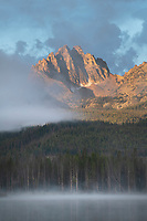 Morning fog around Mount Heyburn and Little Redfish Lake Sawtooth Mountains Idaho