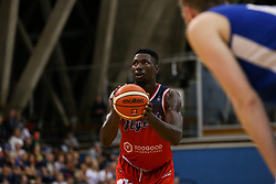 Daniel Edozie of Bristol Flyers takes a free throw - Photo mandatory by-line: Arron Gent/JMP - 28/09/2019 - BASKETBALL - Crystal Palace National Sports Centre - London, England - London City Royals v Bristol Flyers - British Basketball League Cup