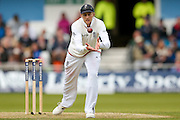 England & Yorkshire Batsman Joe Root collects the ball  during day 3 of the first Investec Test Series 2016 match between England and Sri Lanka at Headingly Stadium, Leeds, United Kingdom on 21 May 2016. Photo by Simon Davies.