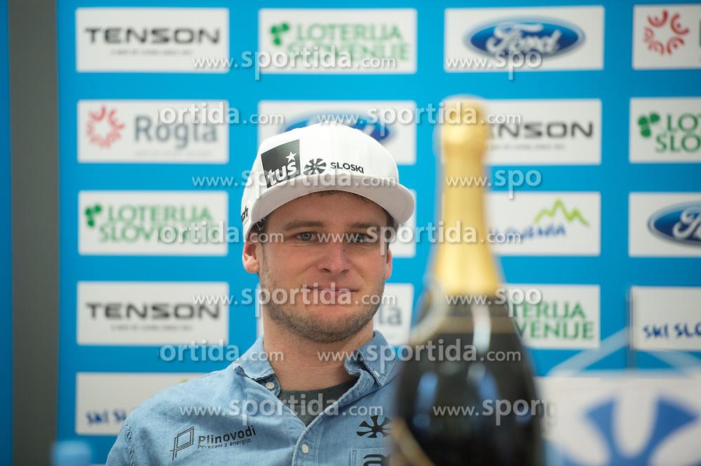 Tim Mastnak of Slovenia, silver medalist at Giant Slalom Snowboard World Championships in Utah, USA during press conference after arrival in Ljubljana, Slovenia, on February 11, 2019. Photo by Anze Petkovsek / Sportida