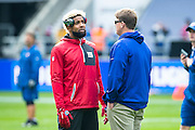 Wide receiver Odell Beckham Jr of the New York Giants talks with Head Coach Ben McAdoo of the New York Giants during the International Series match between New York Giants and Los Angeles Rams at Twickenham, Richmond, United Kingdom on 23 October 2016. Photo by Jason Brown.