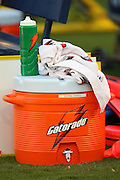 SAN DIEGO, CA - AUGUST 30:  A cooler on the sidelines at the San Diego Chargers NFL preseason game with the San Francisco 49ers at Qualcomm Stadium on August 30, 2007 in San Diego, California. The Chargers defeated the 49ers 16-13. ©Paul Anthony Spinelli