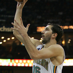 New Orleans Hornets forward Peja Stojakovic #16 shoots in the third quarter of their NBA game on March 22, 2008 at the New Orleans Arena in New Orleans, Louisiana. The New Orleans Hornets defeated the Boston Celtics 113-106.