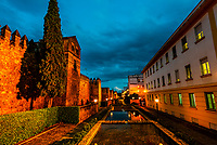 Old City Walls illumintated a twilight, Cordoba, Cordoba Province, Andalusia, Spain.