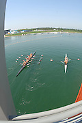 Beijing, CHINA. Crews passing under the bridge, at  the  2007. FISA Junior World Rowing Championships,  Shunyi Water Sports Complex. 11/08/2007 [Photo, Peter Spurrier/Intersport-images]..... , Rowing Course, Shun Yi Water Complex, Beijing, CHINA,
