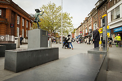 Harrow, North West London UK. The Katie statue was unveiled by Harrow Council on May 2, 1987, to celebrate the pedestrianisation of St Ann's Road, in the town centre.