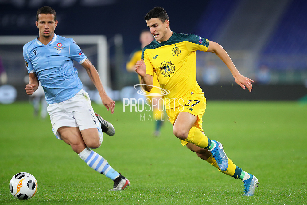Mohamed Elyounoussi (R) of Celtic and Luiz Felipe (L) of Lazio in action during the UEFA Europa League, Group E football match between SS Lazio and Celtic FC on November 7, 2019 at Stadio Olimpico in Rome, Italy - Photo Federico Proietti / ProSportsImages / DPPI