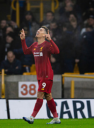 WOLVERHAMPTON, ENGLAND - Thursday, January 23, 2020: Liverpool's Roberto Firmino (R) celebrates scoring the second goal during the FA Premier League match between Wolverhampton Wanderers FC and Liverpool FC at Molineux Stadium. Liverpool won 2-1. (Pic by David Rawcliffe/Propaganda)
