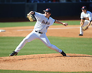 Ole Miss' Christian Trent (47) pitches vs. Georgia State at Oxford-University Stadium in Oxford, Miss. on Saturday, February 22, 2014. (AP Photo/Oxford Eagle, Bruce Newman)