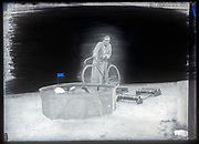 heavy retouched vintage glass plate negative photograph ca 1930s