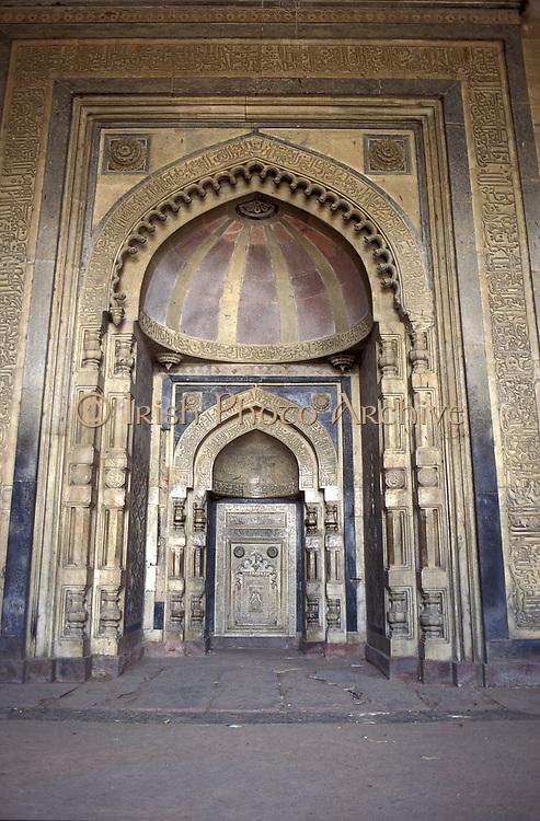 Interior of Mughal Mosque, Delhi, India - the Mirab. Photograph.