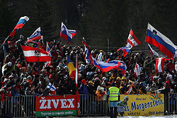 Fans of Slovenia and Austrian Thomas Morgenstern at Flying Hill Team in 3rd day of 32nd World Cup Competition of FIS World Cup Ski Jumping Final in Planica, Slovenia, on March 21, 2009. (Photo by Vid Ponikvar / Sportida)