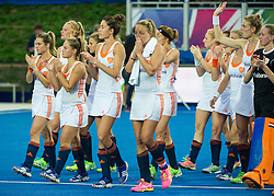 The Netherlands acknowledge the crowd after losing to England. England v The Netherlands - Final Unibet EuroHockey Championships, Lee Valley Hockey & Tennis Centre, London, UK on 30 August 2015. Photo: Simon Parker