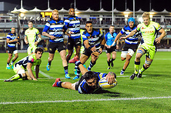 Matt Banahan of Bath Rugby reaches for the try-line in the first half - Mandatory byline: Patrick Khachfe/JMP - 07966 386802 - 07/10/2016 - RUGBY UNION - The Recreation Ground - Bath, England - Bath Rugby v Sale Sharks - Aviva Premiership.