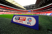 Sky Bet Play-Offs sign at Wembley Stadium before the EFL Sky Bet League 2 play off final match between Blackpool and Exeter City at Wembley Stadium, London, England on 28 May 2017. Photo by Graham Hunt.