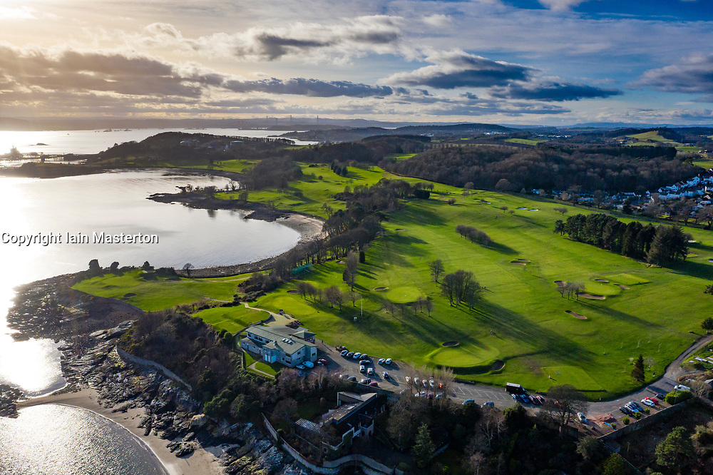 Aerial view of golf course in village of Aberdour in Fife, Scotland, UK