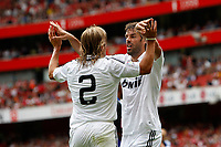 Photo: Richard Lane/Richard Lane Photography. SV Hamburg v Real Madrid. Emirates Cup. 02/08/2008. Real's Ruud Van Nistelrooy celebrates his goal with Miguel Salgado.