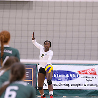2nd year outside hitter Diana Lumbala (9) of the Regina Cougars in action during Women's Volleyball home game on November 18 at Centre for Kinesiology, Health and Sport. Credit: /Arthur Images