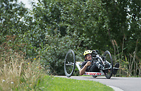 James Pearce in action during the Prudential RideLondon Handcycle Grand Prix.<br /> <br /> Prudential RideLondon 28/07/2017<br /> <br /> Photo: Tom Lovelock/Silverhub for Prudential RideLondon<br /> <br /> Prudential RideLondon is the world&rsquo;s greatest festival of cycling, involving 100,000+ cyclists &ndash; from Olympic champions to a free family fun ride - riding in events over closed roads in London and Surrey over the weekend of 28th to 30th July 2017. <br /> <br /> See www.PrudentialRideLondon.co.uk for more.<br /> <br /> For further information: media@londonmarathonevents.co.uk