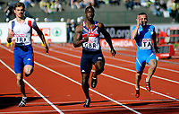 Friidrett<br /> 19. juni 2010<br /> Fana Stadion , Bergen , Norway<br /> European team championships<br /> 100 meter  Men<br /> Christoph Lemaitre (L) , FRA<br /> Dwain Chambers (M) , GBR<br /> Emanuele Di Gregorio (R) , ITA<br /> Foto : Astrid M. Nordhaug
