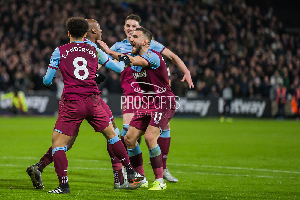 Angelo Ogbonna (West Ham) celebrates his goal during the Premier League match between West Ham United and Arsenal at the London Stadium, London, England on 9 December 2019.