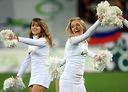 Dance group Ladies at the fourth round qualification game of 2010 FIFA WORLD CUP SOUTH AFRICA in Group 3 between Slovenia and Northern Ireland at Stadion Ljudski vrt, on October 11, 2008, in Maribor, Slovenia.  (Photo by Vid Ponikvar / Sportal Images)