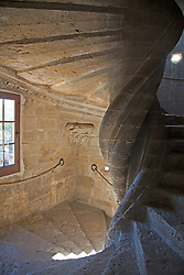 A rare double spiral staircase is one of the medieval features of the Chateau de Lourmarin.