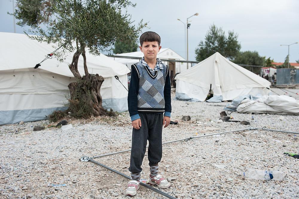 Abdulrahman 7 years old from Iraq in Kara Tepe camp in Lesvos, Greece